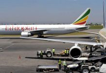 This file photograph taken on January 26, 2010, shows an Ethiopian Boeing 777 aircraft as it leaves a hanger in Nairobi. AFP PHOTO